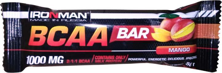 Батончик Ironman BCAA Bar, манго, темная глазурь, 50 г bcaa 3300