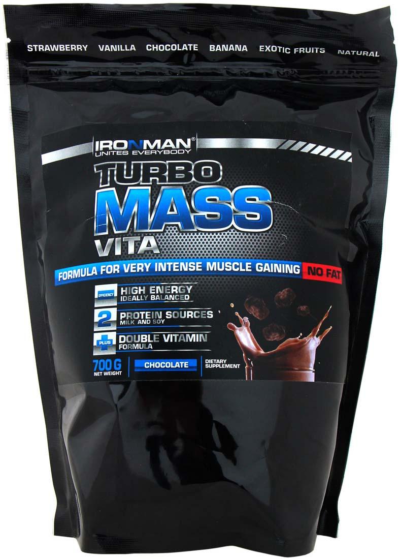 Гейнер Ironman Турбо Масс Вита, без жира, шоколад, 700 г гейнер ironman турбо масс ваниль 5 кг