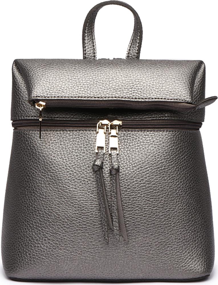 Сумка-рюкзак женская DDA, цвет: серебристый. DDA LB-1167DS ретро рюкзак мужчина пар рюкзак брезент сумка рюкзак для подростков туризм спортивная сумка кемпинг