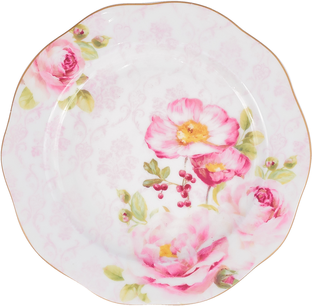 """Тарелка десертная Easy Life """"Дамасская роза"""", диаметр 20 см, цвет: розовый. EL-R0376/FLDA"""