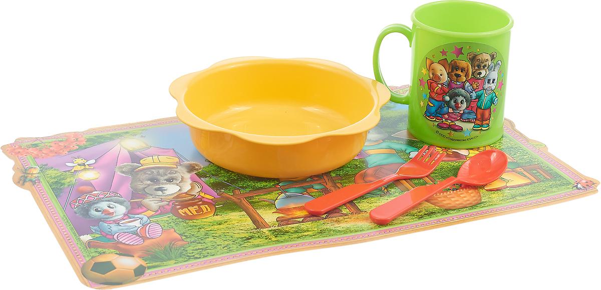 Набор детской посуды Спокойной ночи малыши, цвет тарелки: желтый, 5 предметов. Н5СП музыкальная подвеска на кроватку chicco чико спокойной ночи цвет голубой