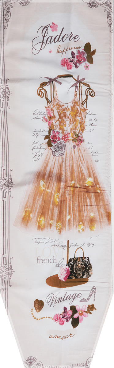"""Чехол для гладильной доски Nika """"Платье"""", универсальный, с поролоном, цвет: белый, бежевый, 129 х 40 см"""