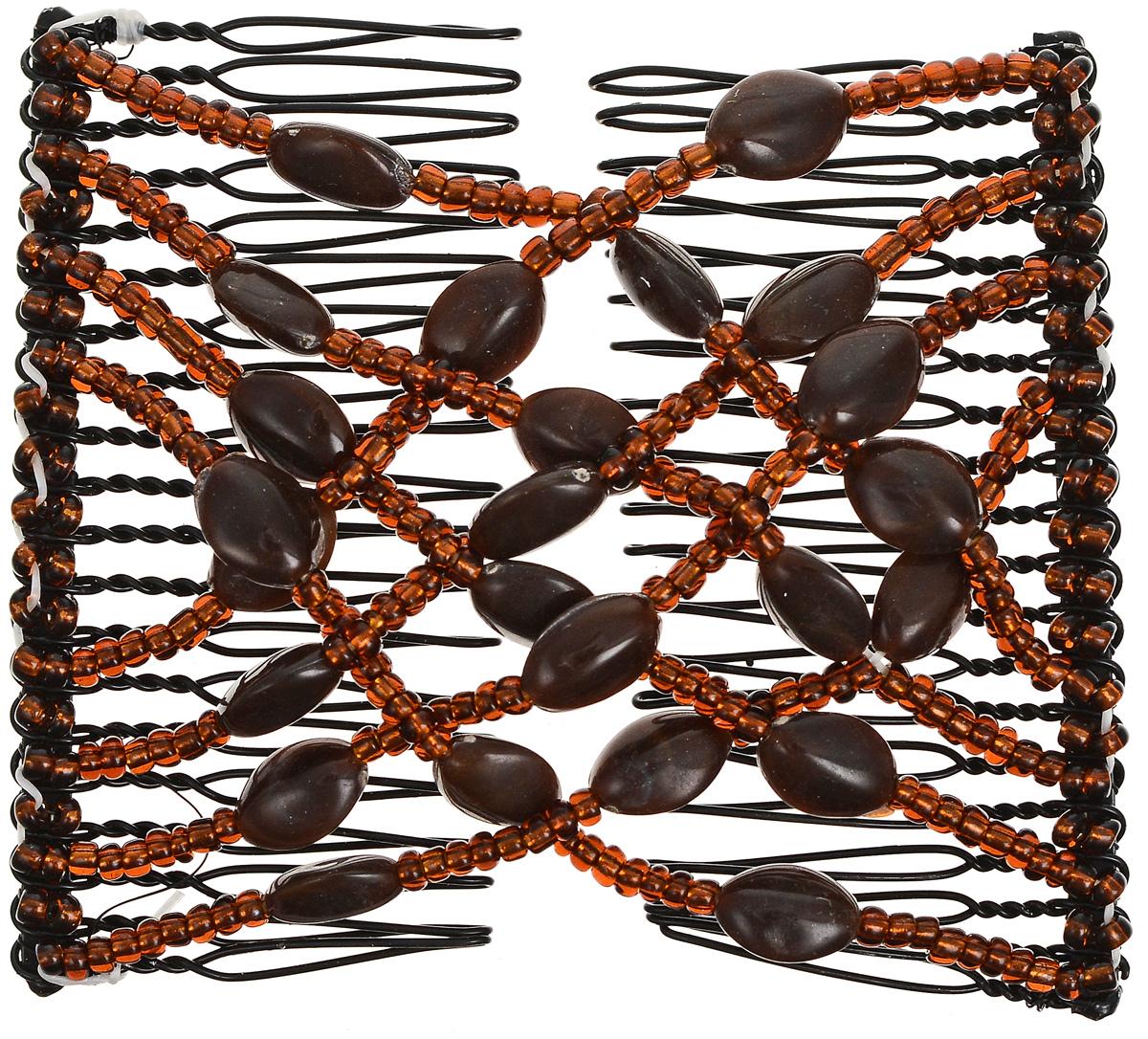 EZ-Combs Заколка Изи-Комбс, одинарная, цвет: коричневый. ЗИО_плоский овал заколка hairagami хеагами одинарная цвет черный розовый