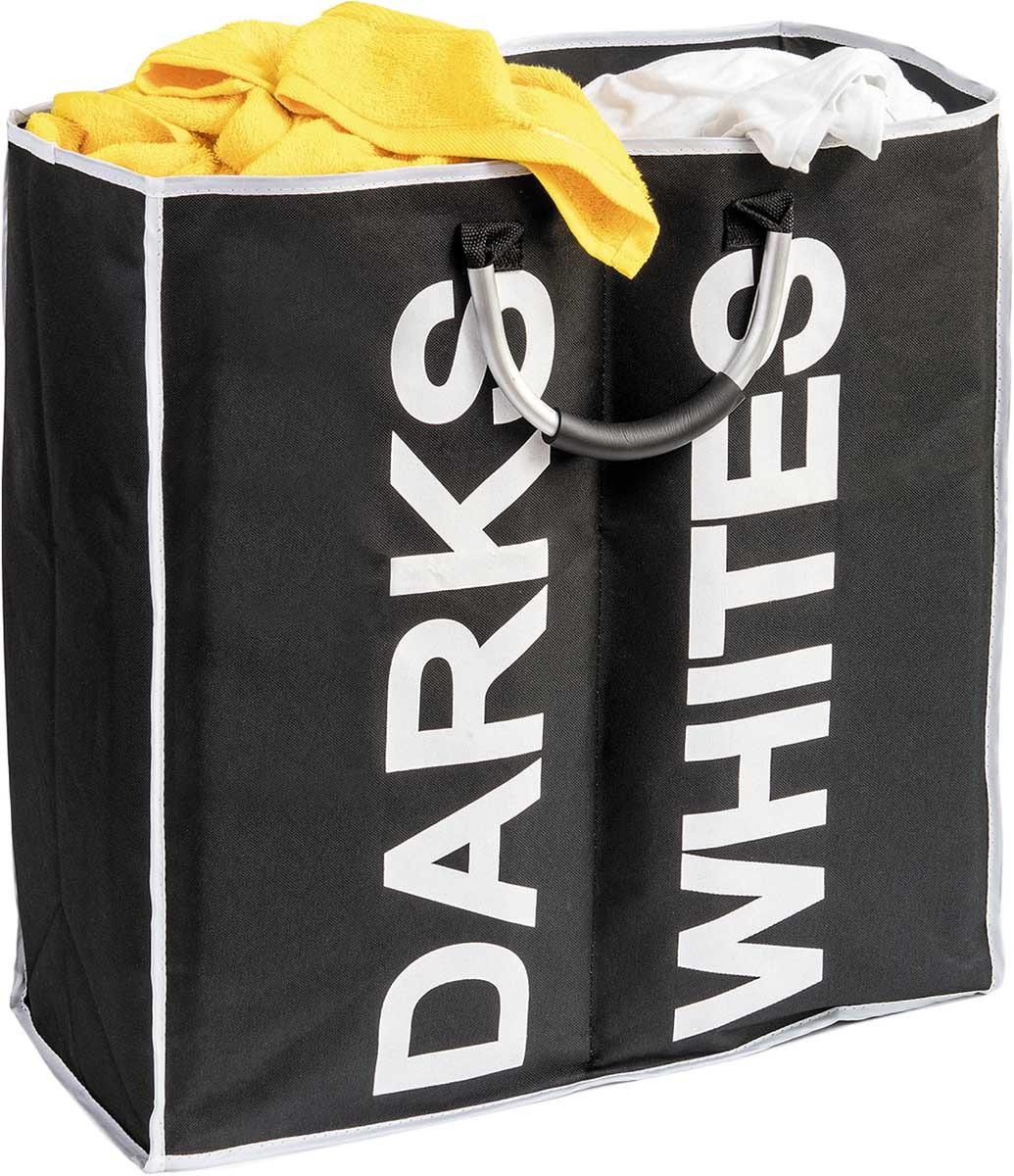 Корзина для белья Tatkraft Spase с разделителем, цвет: черный, белый, 53,5 х 52,5 х 22 см цена