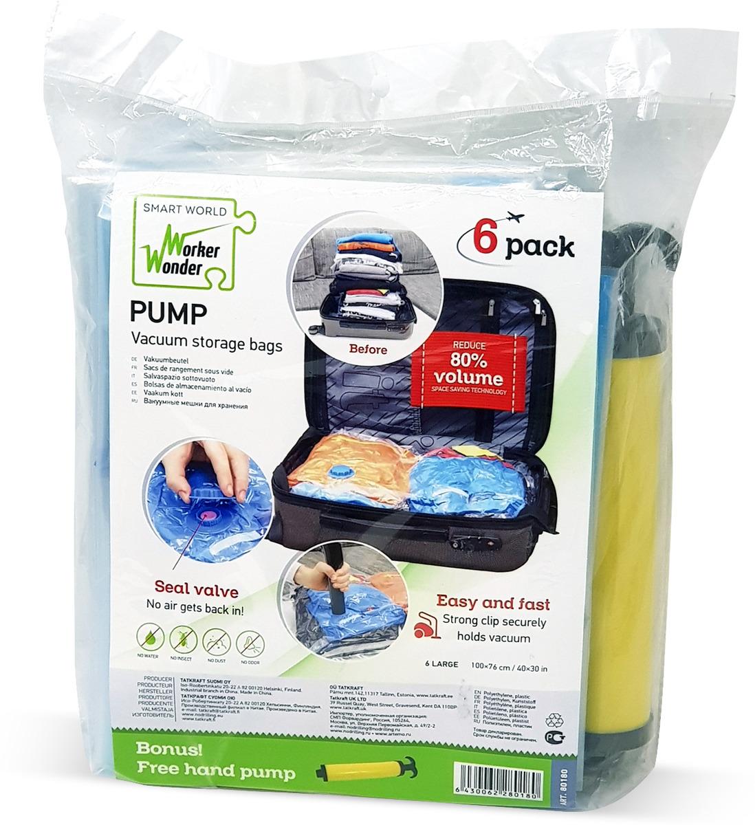 Вакуумные мешки для хранения Wonder Worker Pump, 6 шт + ручной насос насос ручной hi output hand pump 30 см intex 68612