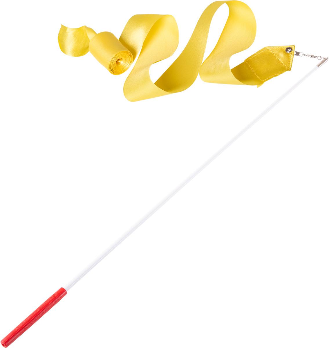 Лента для художественной гимнастики Amely AGR-201, длина 4 м, с палочкой 46 см, цвет: желтый лонгслив для гимнастики малыши