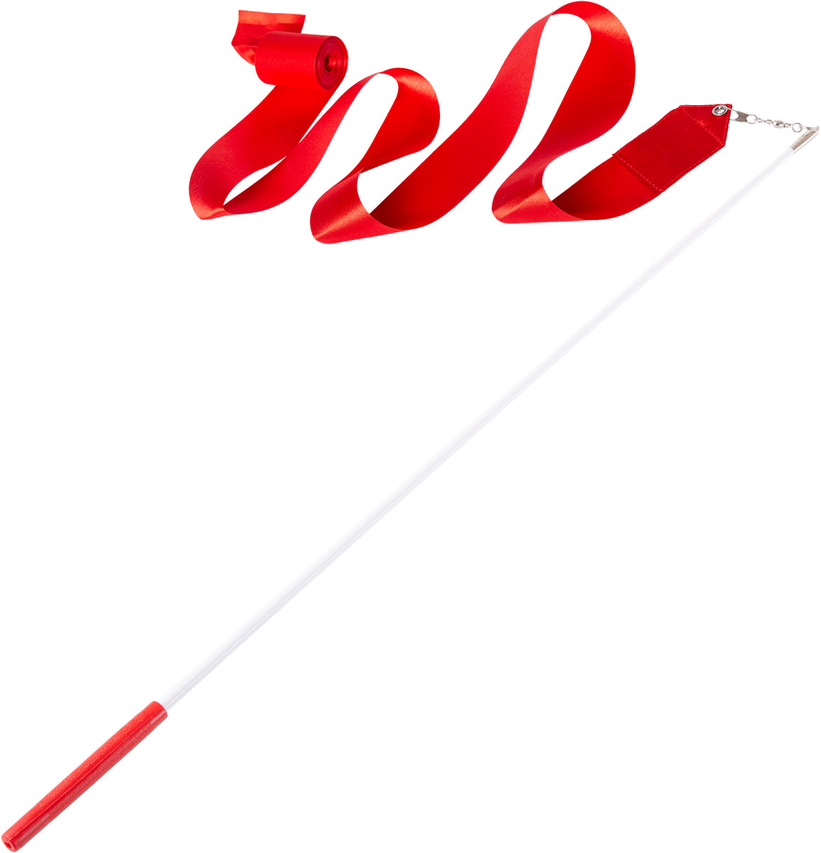 Лента для художественной гимнастики Amely AGR-201, длина 4 м, с палочкой 46 см, цвет: красный мяч для художественной гимнастики amely agr 101 диаметр 15 см цвет красный