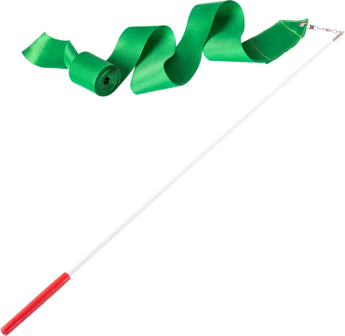 Лента для художественной гимнастики Amely AGR-201, длина 6 м, с палочкой 56 см, цвет: зеленый женский купальник для художественной гимнастики черный бирюзовый с блестками