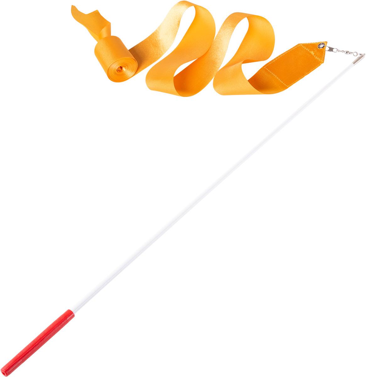 Лента для художественной гимнастики Amely AGR-201, длина 6 м, с палочкой 56 см, цвет: оранжевый лонгслив для гимнастики малыши