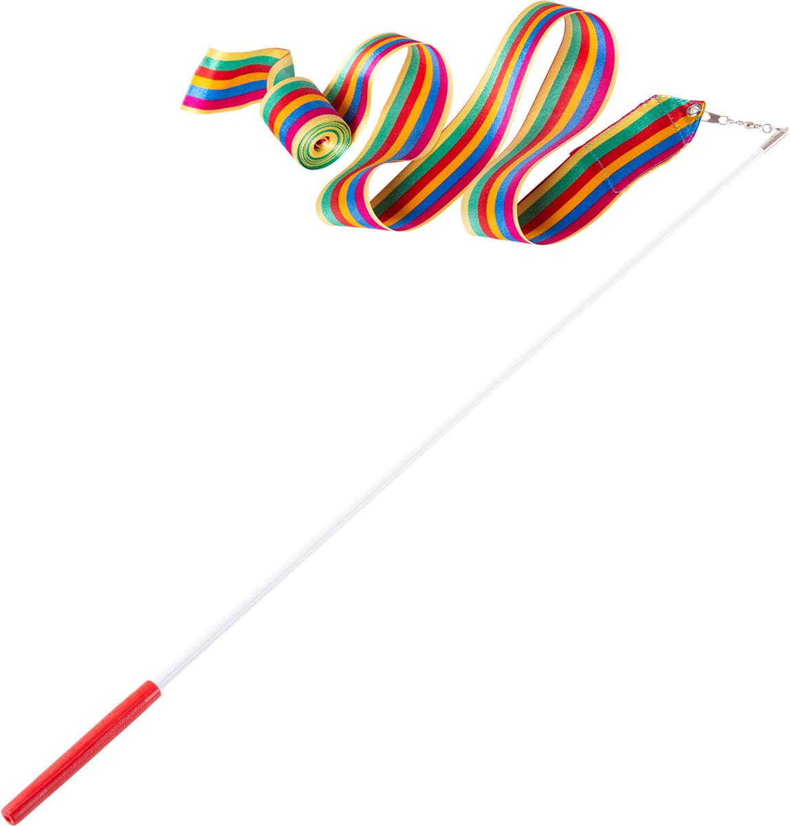 Лента для художественной гимнастики Amely AGR-201, длина 6 м, с палочкой 56 см, цвет: радуга лонгслив для гимнастики малыши