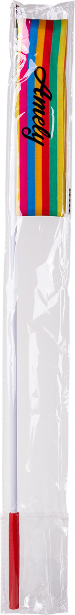 Лента для художественной гимнастики Amely AGR-201, длина 6 м, с палочкой 56 см, цвет:  радуга Amely