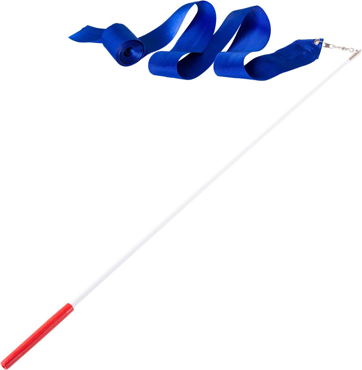 Лента для художественной гимнастики Amely AGR-201, длина 6 м, с палочкой 56 см, цвет: синий лонгслив для гимнастики малыши