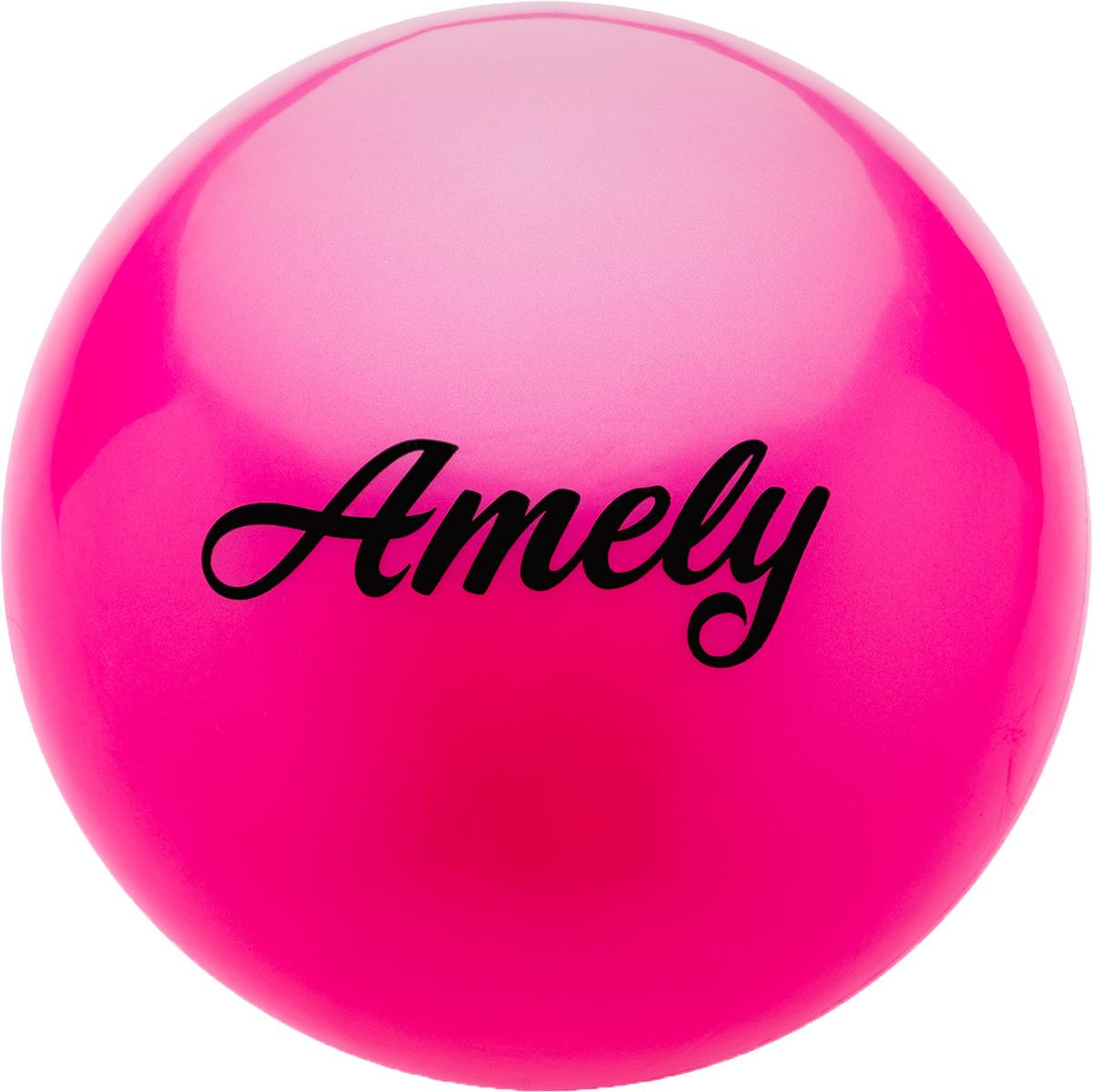Мяч для художественной гимнастики Amely AGR-101, диаметр 19 см, цвет: розовый лента для художественной гимнастики amely agr 201 длина 6 м с палочкой 56 см цвет фиолетовый