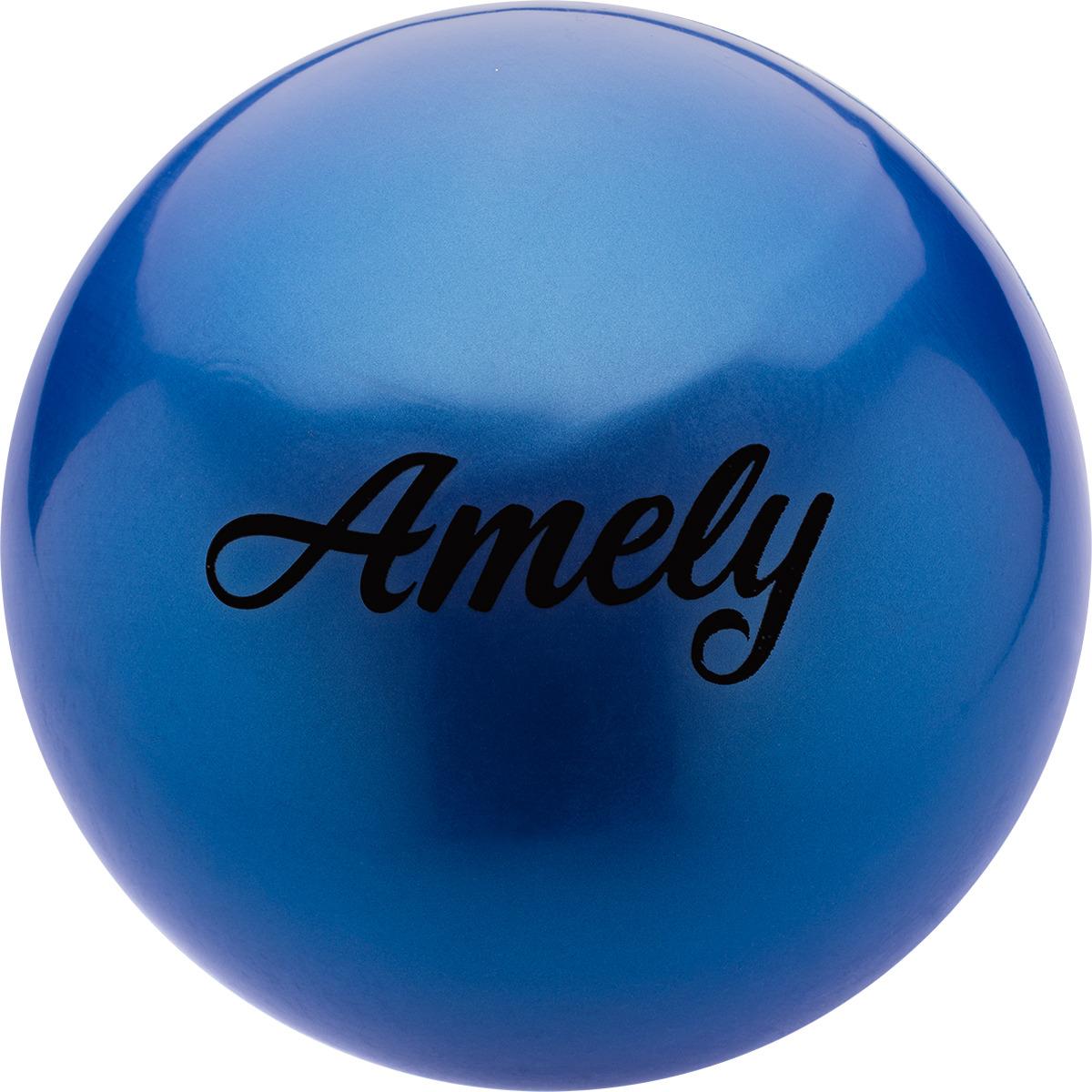 Мяч для художественной гимнастики Amely AGR-101, диаметр 19 см, цвет: синий лента для художественной гимнастики amely agr 201 длина 6 м с палочкой 56 см цвет фиолетовый