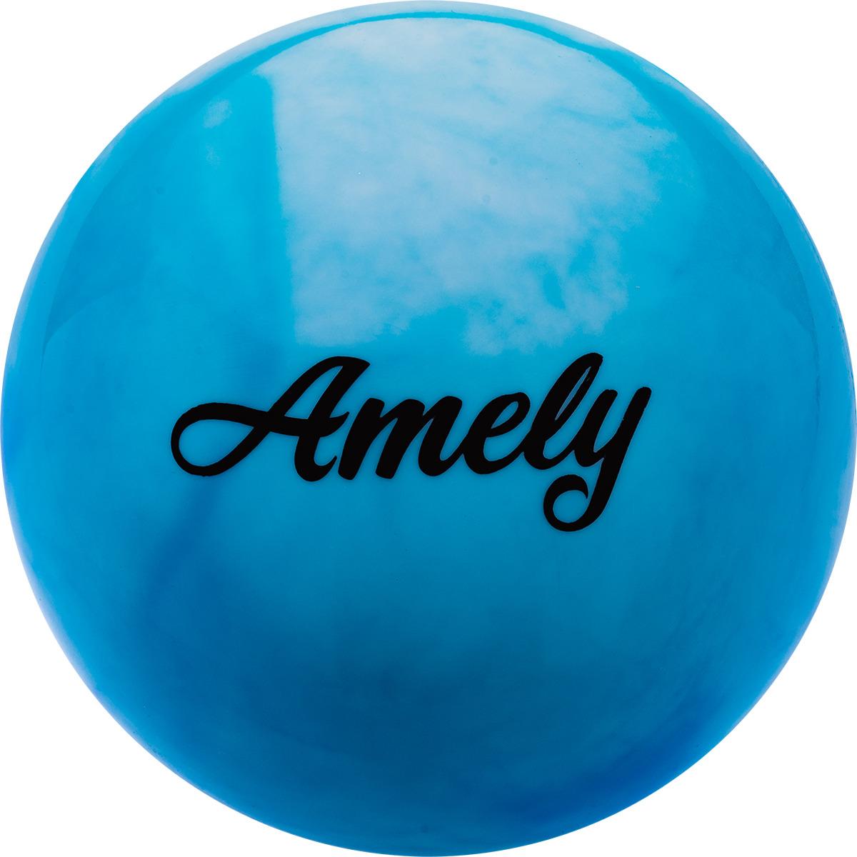 Мяч для художественной гимнастики Amely AGR-101, диаметр 19 см, цвет: синий, белый мяч для художественной гимнастики amely agr 101 диаметр 15 см цвет синий белый