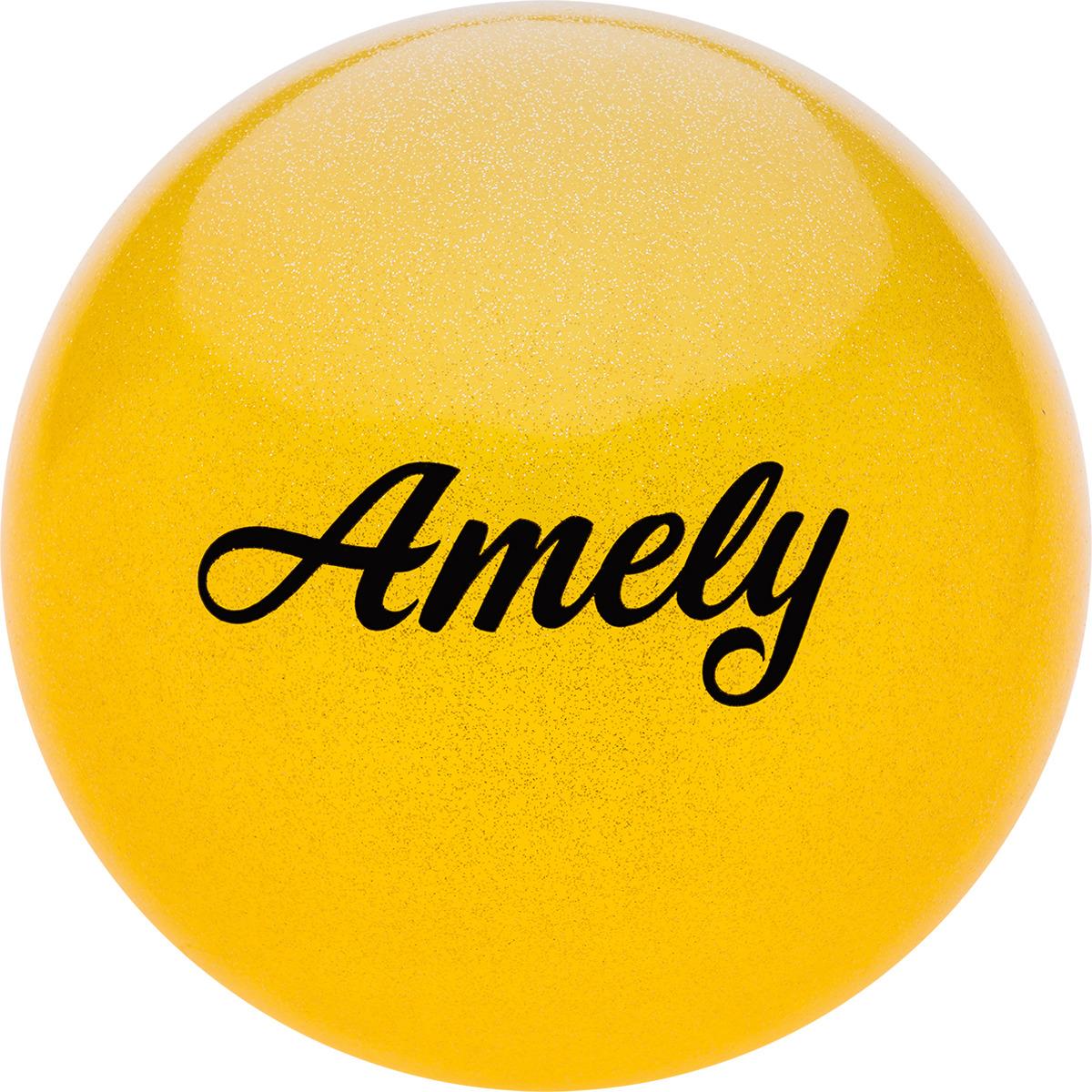 Мяч для художественной гимнастики Amely AGR-102, диаметр 15 см, цвет: желтый с блестками женский купальник для художественной гимнастики черный бирюзовый с блестками