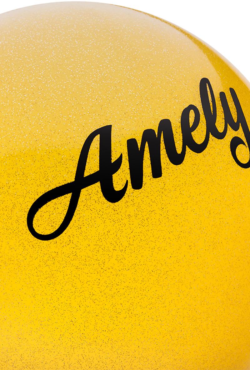 Мяч для художественной гимнастики Amely AGR-102, диаметр 15 см, цвет:  желтый с блестками Amely