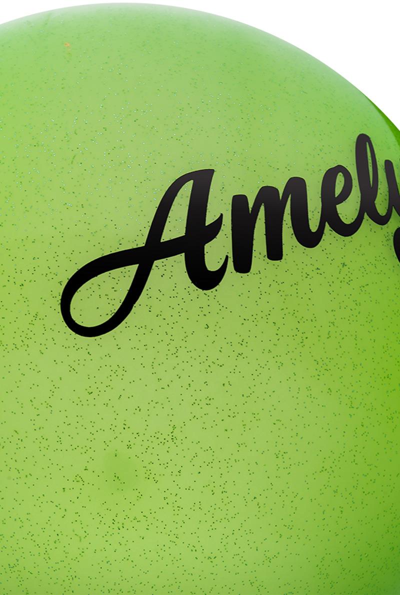 Мяч для художественной гимнастики Amely AGR-102, диаметр 15 см, цвет:  зеленый с блестками Amely