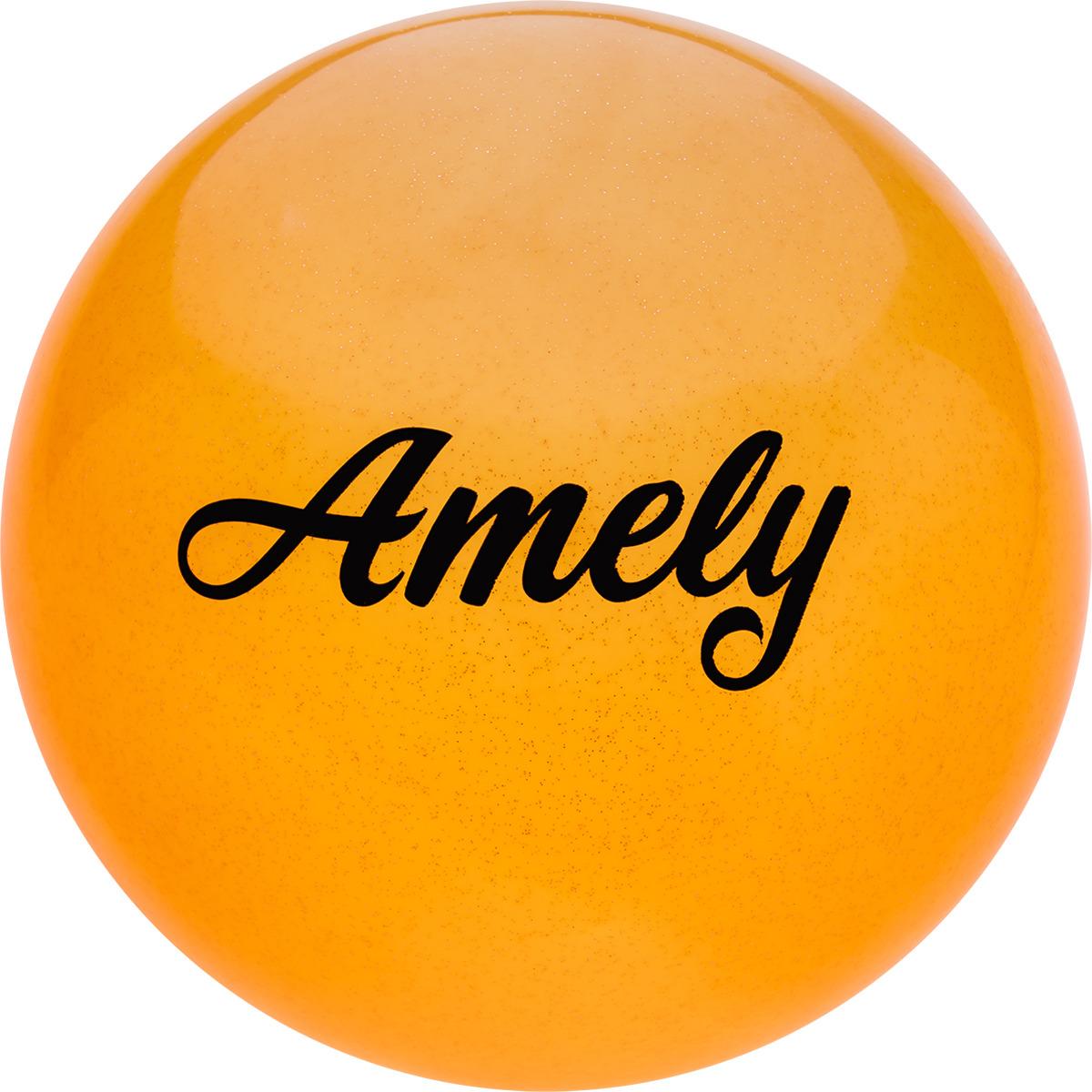 Мяч для художественной гимнастики Amely AGR-102, диаметр 15 см, цвет: оранжевый с блестками женский купальник для художественной гимнастики черный бирюзовый с блестками