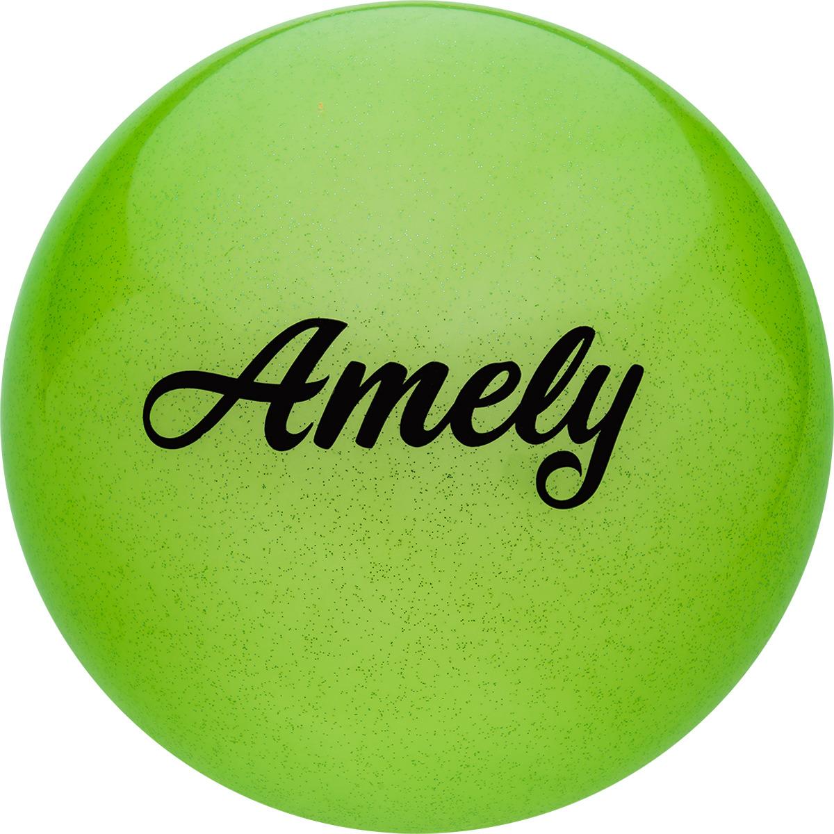 Мяч для художественной гимнастики Amely AGR-102, диаметр 19 см, цвет: зеленый с блестками лента для художественной гимнастики amely agr 201 длина 6 м с палочкой 56 см цвет фиолетовый