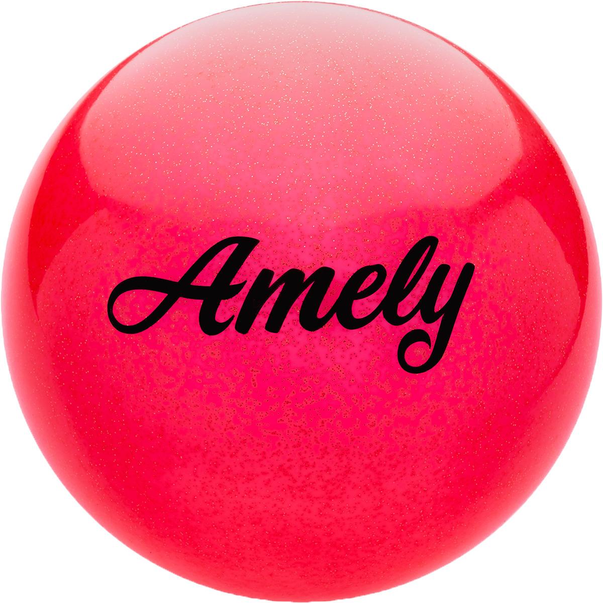 Мяч для художественной гимнастики Amely AGR-102, диаметр 19 см, цвет: красный с блестками лента для художественной гимнастики amely agr 201 длина 6 м с палочкой 56 см цвет фиолетовый
