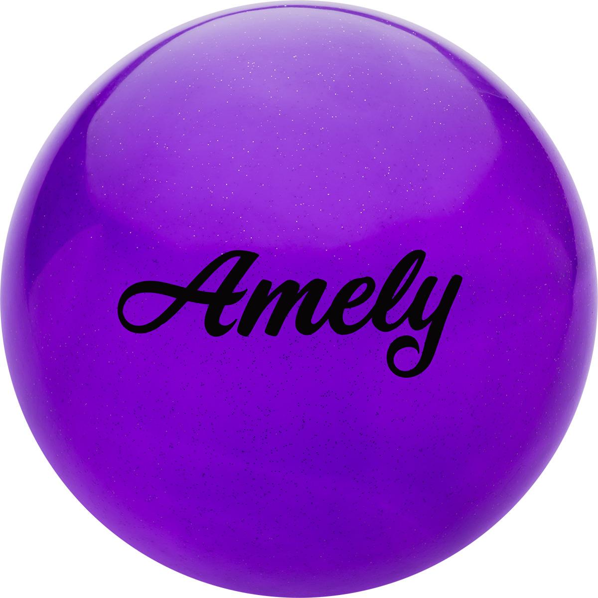 Мяч для художественной гимнастики Amely AGR-102, диаметр 19 см, цвет: фиолетовый с блестками лента для художественной гимнастики amely agr 201 длина 6 м с палочкой 56 см цвет фиолетовый