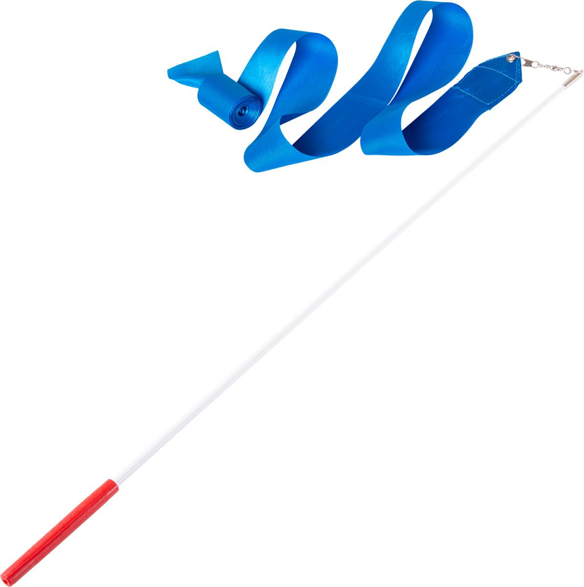 Лента для художественной гимнастики Amely AGR-201, длина 4 м, с палочкой 56 см, цвет: голубой лонгслив для гимнастики малыши