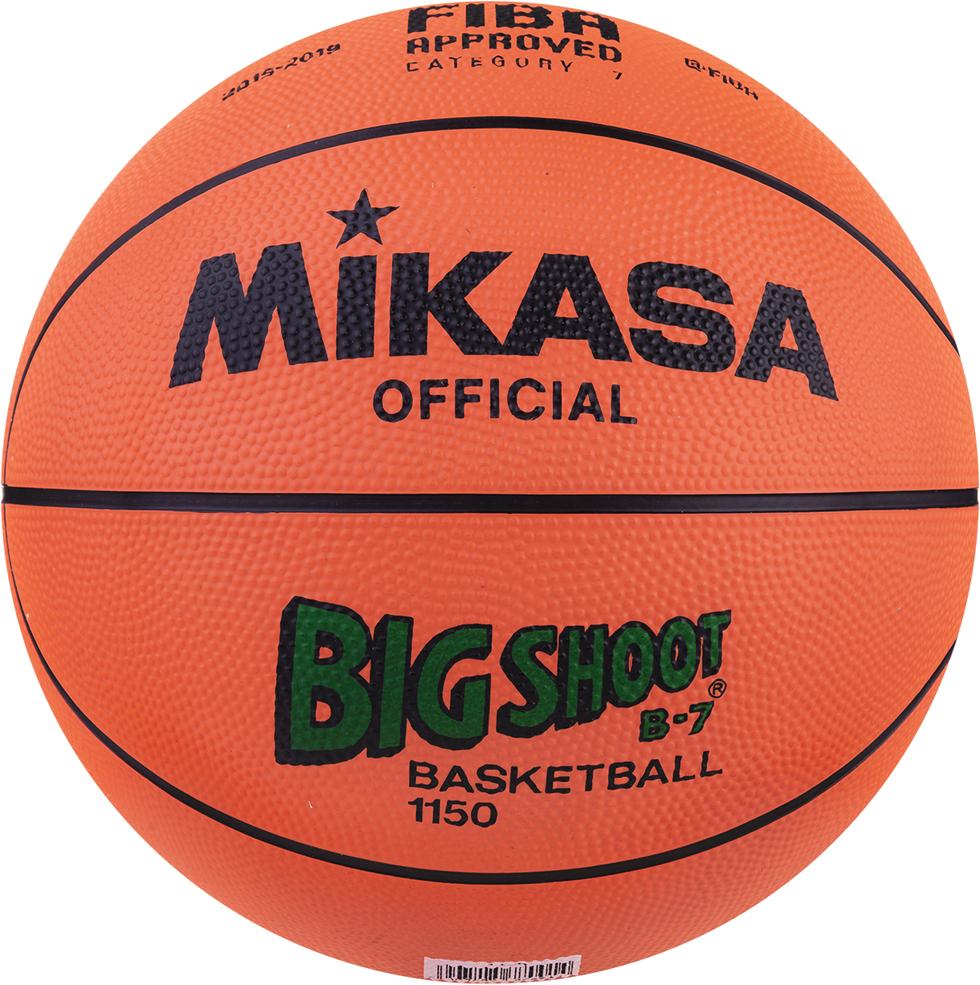 Мяч баскетбольный Mikasa 1150, цвет: черный, зеленый, оранжевый, размер 7 баскетбольный мяч dfc ball5p 5