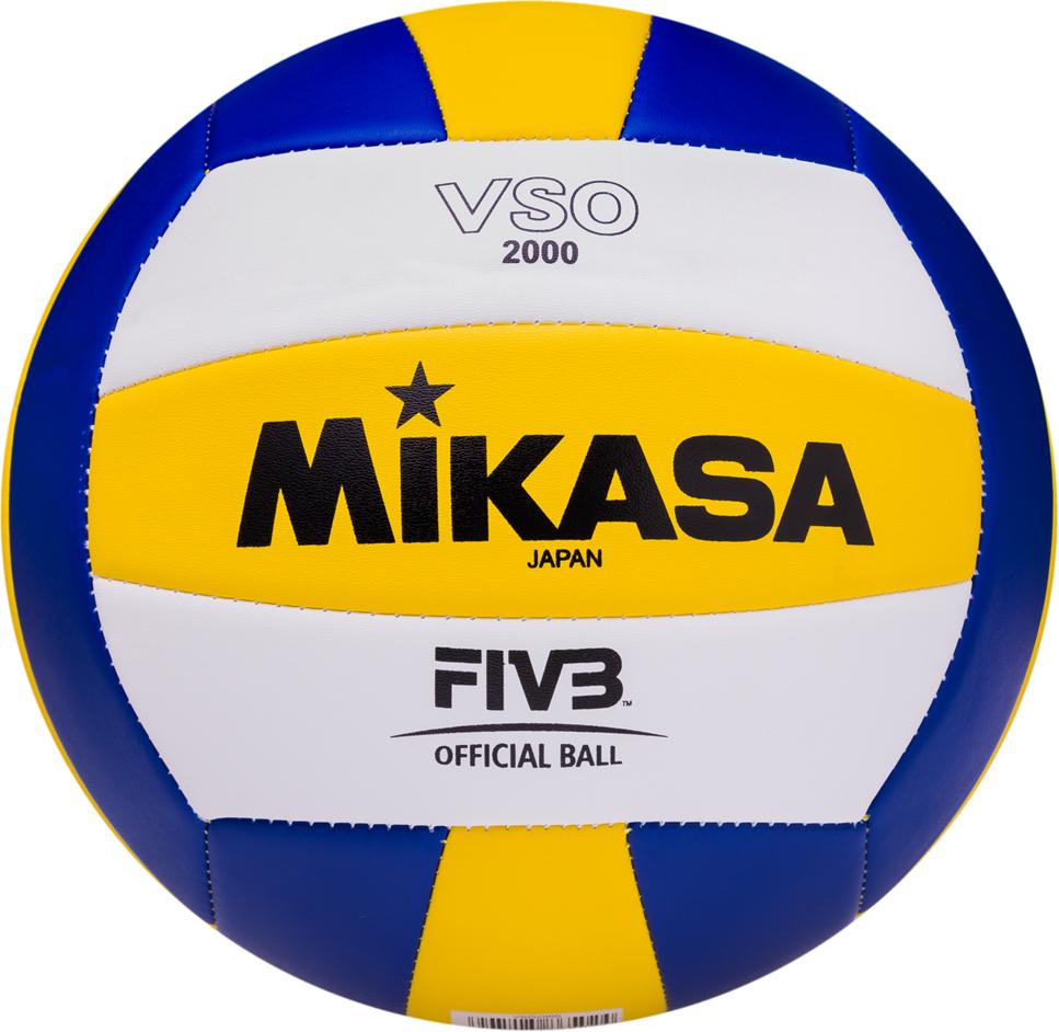 Мяч волейбольный Mikasa VSO 2000, цвет: белый, желтый, синий, размер 5 мяч indigo 5 scorpion