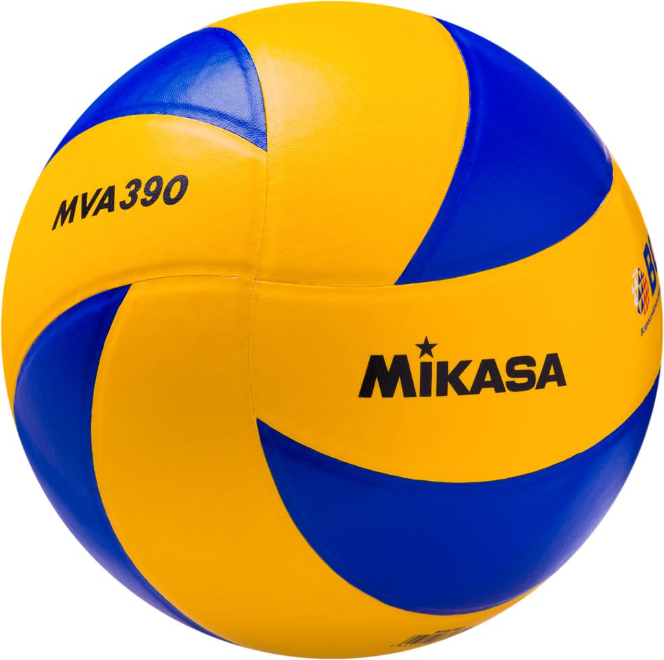 Мяч волейбольный Mikasa MVA 390 Доступная широкому кругу любителей волейбола модель мяча. Износостойкая гладкая синтетическая кожа (поливинилхлорид), бутиловая камера, армированная нейлоновой нитью, 8 клееных панелей желтого и синего цветов в форме лепестка. Официальные параметры FIVB. Мяч имеет логотип ВФВ (Всероссийская федерация волейбола).