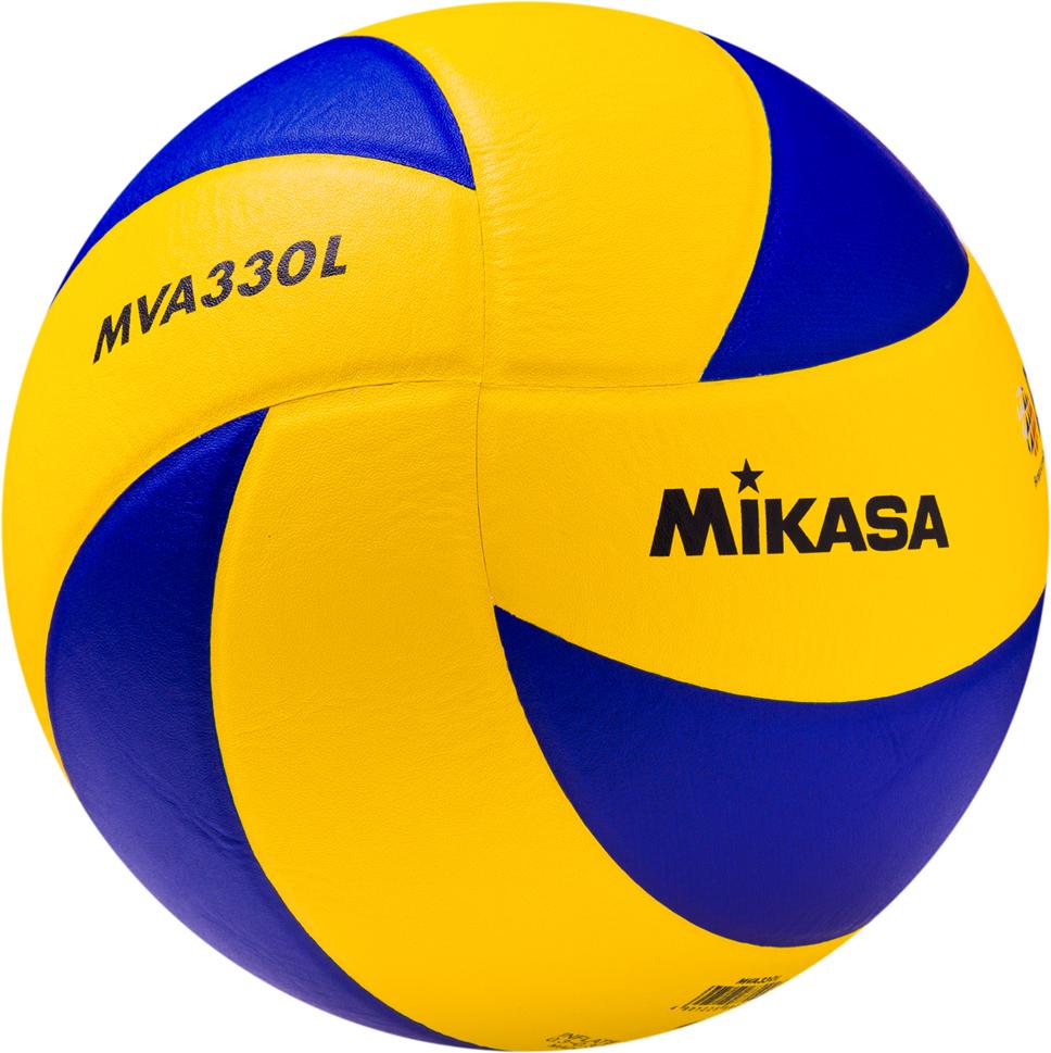 Мяч волейбольный Mikasa MVA 330 L, цвет: желтый, синий, размер 5 мяч для пляжного волейбола mikasa vxs zb b р 5