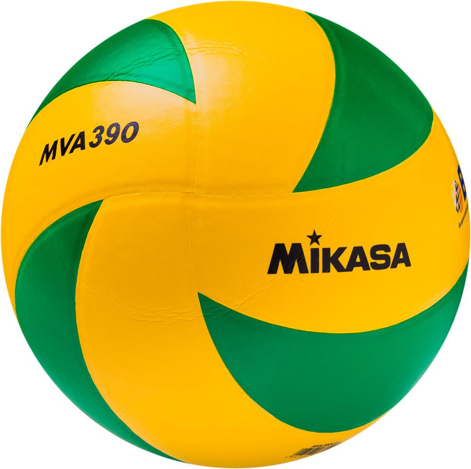 Мяч волейбольный Mikasa MVA 390 CEV, цвет: желтый, синий, размер 5 mikasa мяч волейбольный mikasa