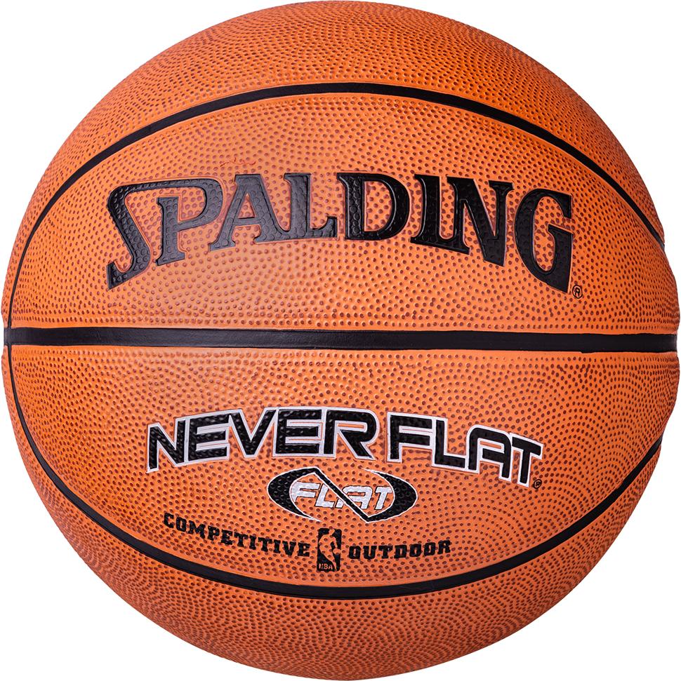 Мяч баскетбольный Spalding Neverflat, цвет: коричневый, черный, размер 7
