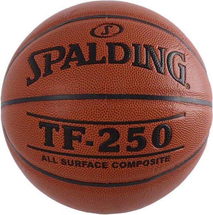 Мяч баскетбольный Spalding TF-250, цвет: коричневый, черный, размер 5