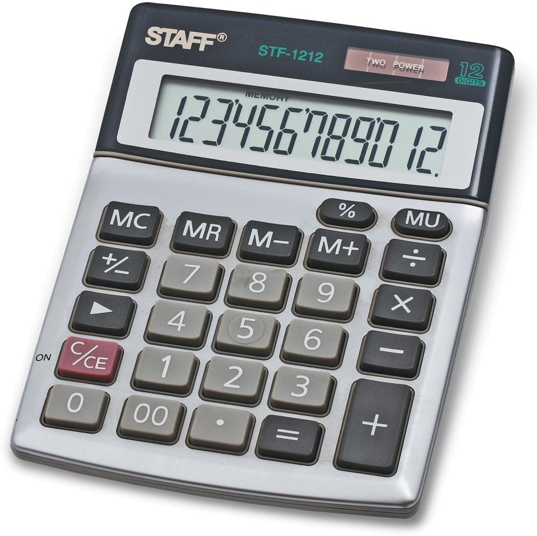 Калькулятор настольный Staff STF-1212 калькулятор staff stf 165
