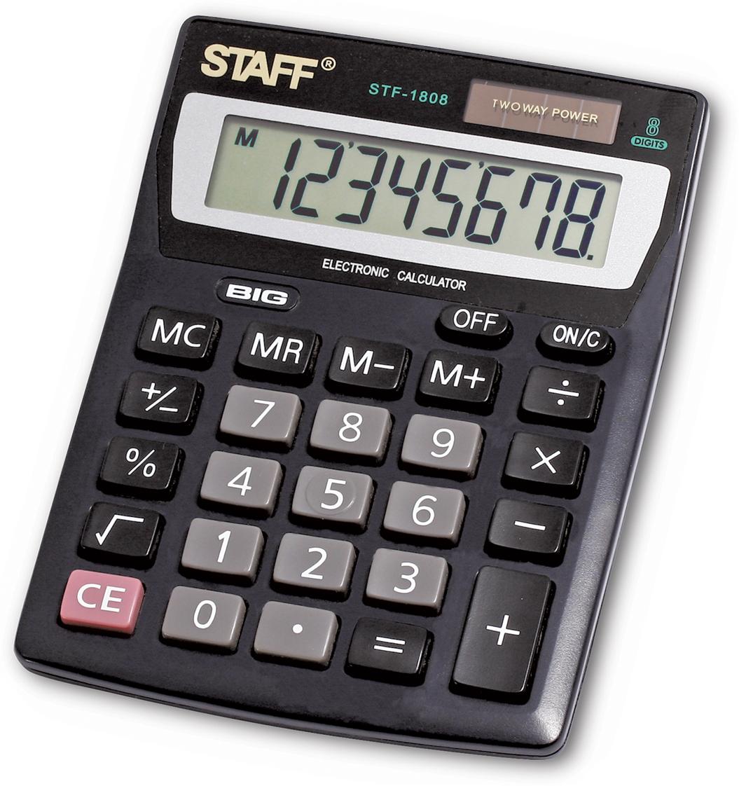Калькулятор настольный Staff STF-1808 калькулятор staff stf 165