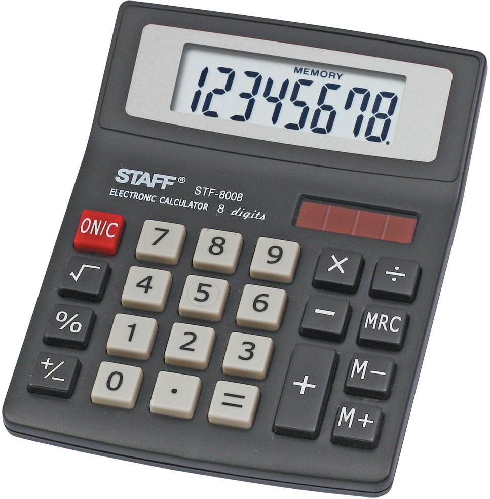Калькулятор настольный Staff STF-8008. 250207 канцелярия staff калькулятор настольный stf 555 white