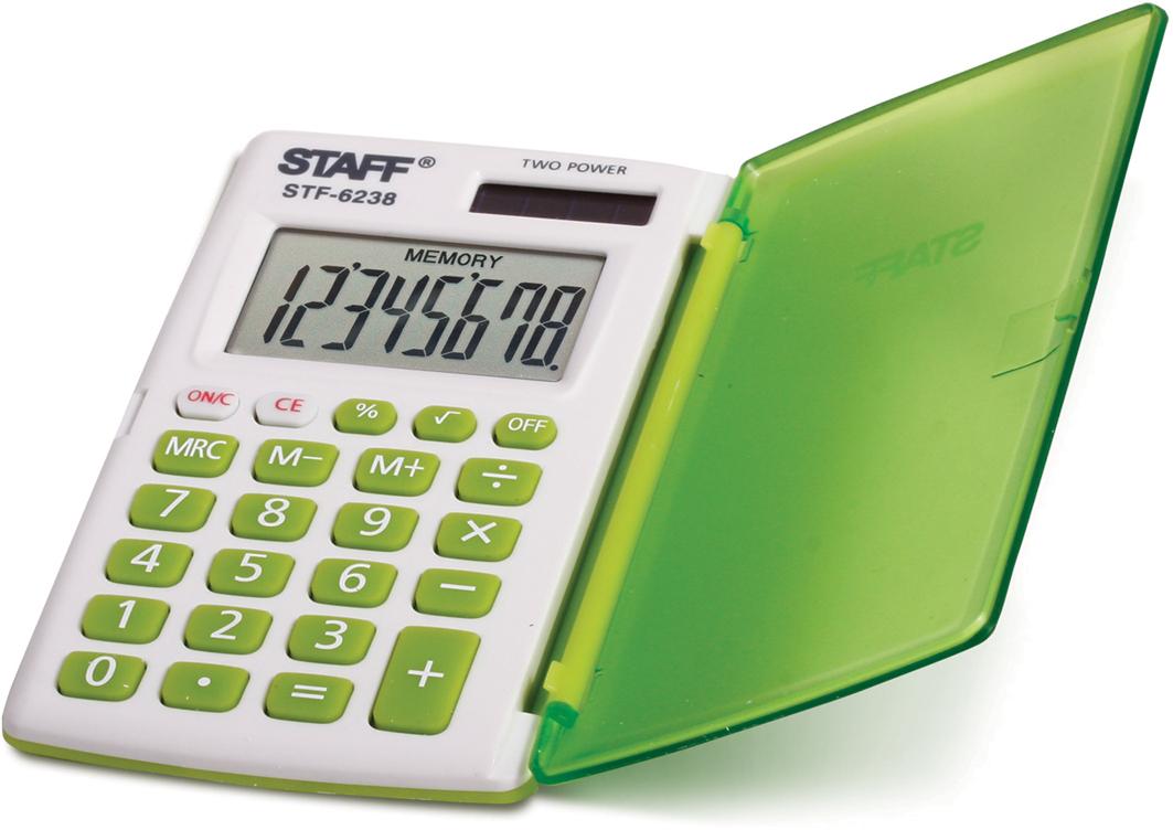 Калькулятор карманный Staff STF-6238, цвет: белый, зеленый калькулятор staff stf 165