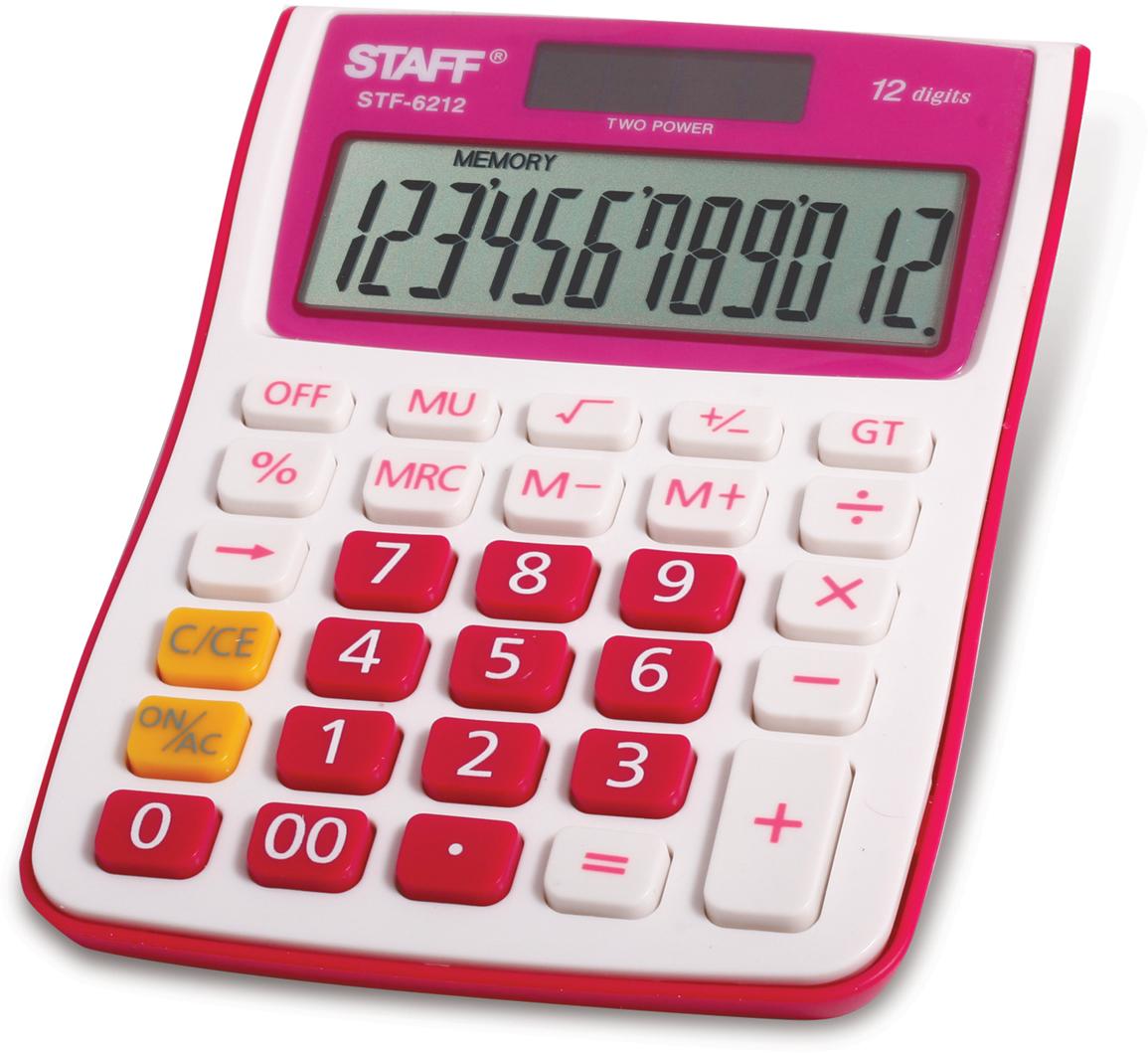 Калькулятор настольный Staff STF-6212, цвет: малиновый канцелярия staff калькулятор настольный stf 555 white