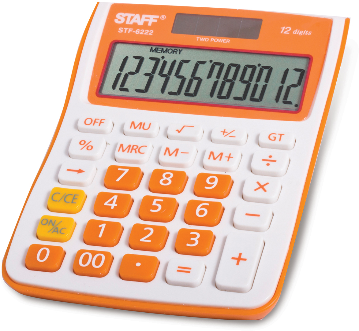 Калькулятор настольный Staff STF-6222, цвет: оранжевый канцелярия staff калькулятор настольный stf 555 white