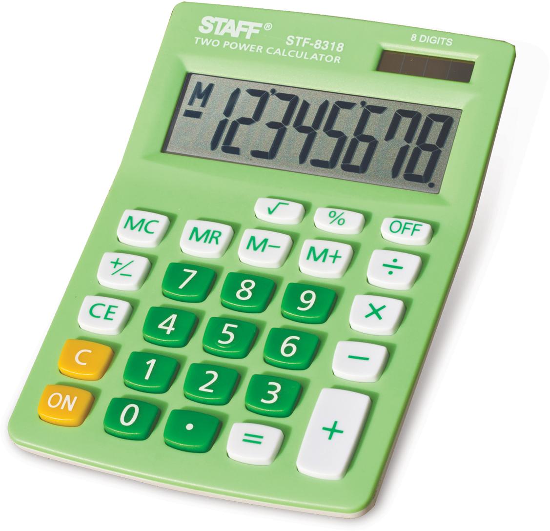 Калькулятор настольный Staff STF-8318, цвет: зеленый канцелярия staff калькулятор настольный stf 555 white
