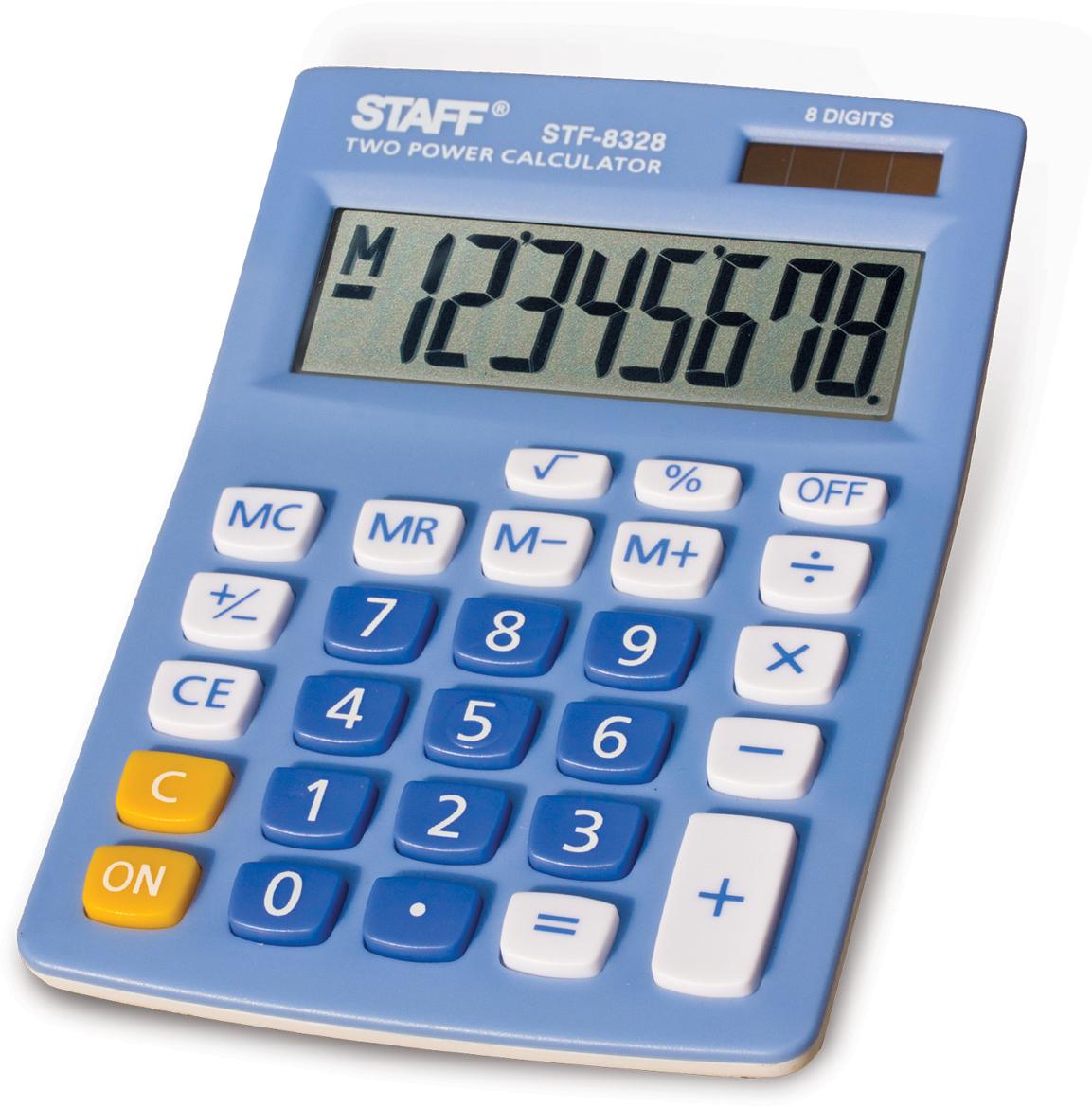 Калькулятор настольный Staff STF-8328, цвет: голубой калькулятор staff stf 165