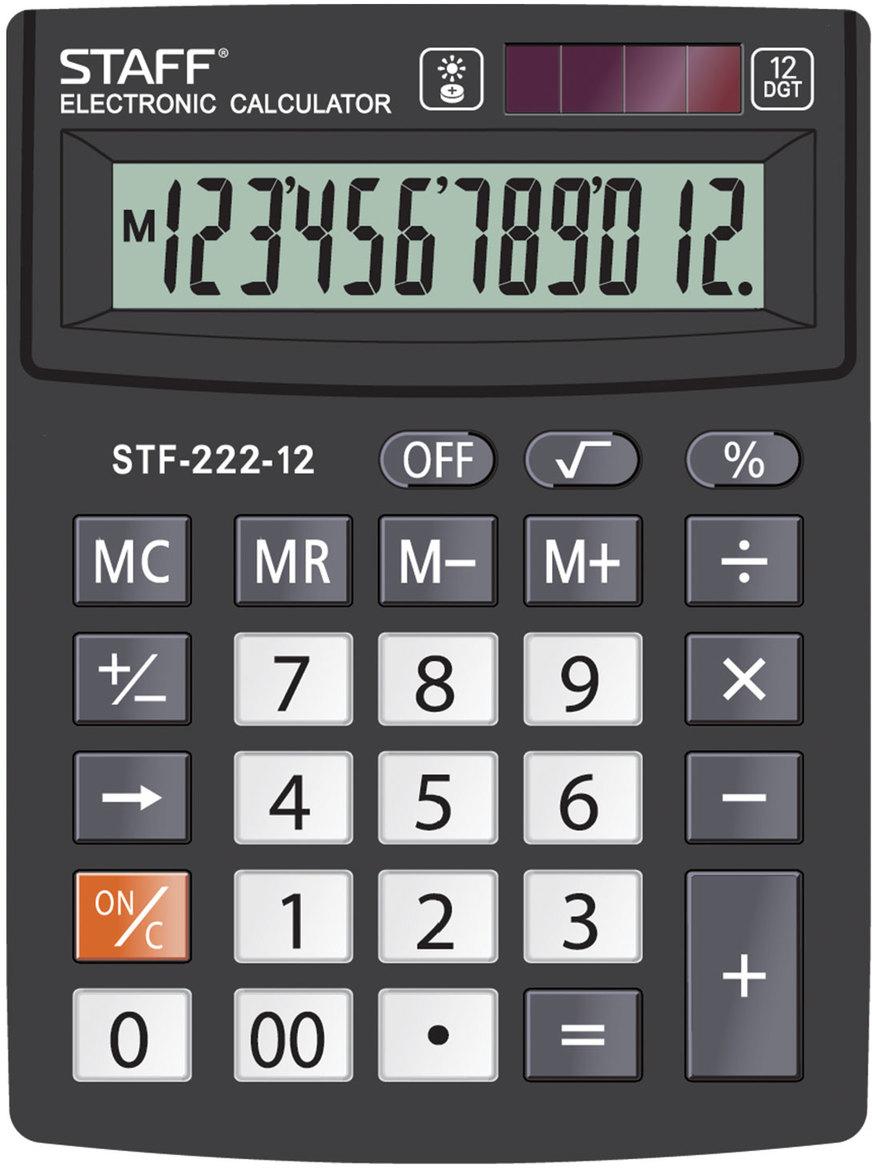 Калькулятор настольный Staff Plus STF-222, 12 разрядов калькулятор staff stf 165