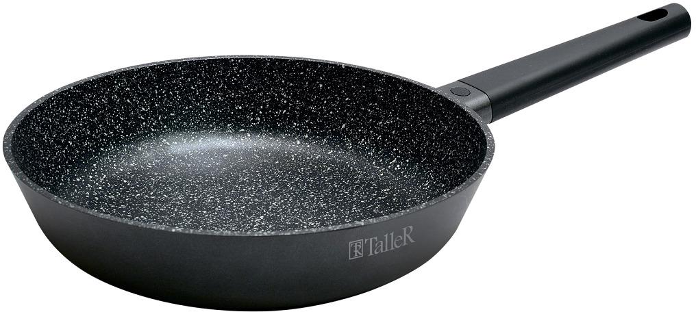 Сковорода из алюминия с антипригарным покрытием  Толщина дна 4,5 мм Бакелитовая ручка с силиконовым покрытием не нагревается при использовании конфорки или газовой горелки, не превышающей диаметр дна сковороды. Рекомендации: не подлежит эксплуатации в духовом шкафу, подходит для всех типов плит кроме индукционной, можно мыть в посудомоечной машине