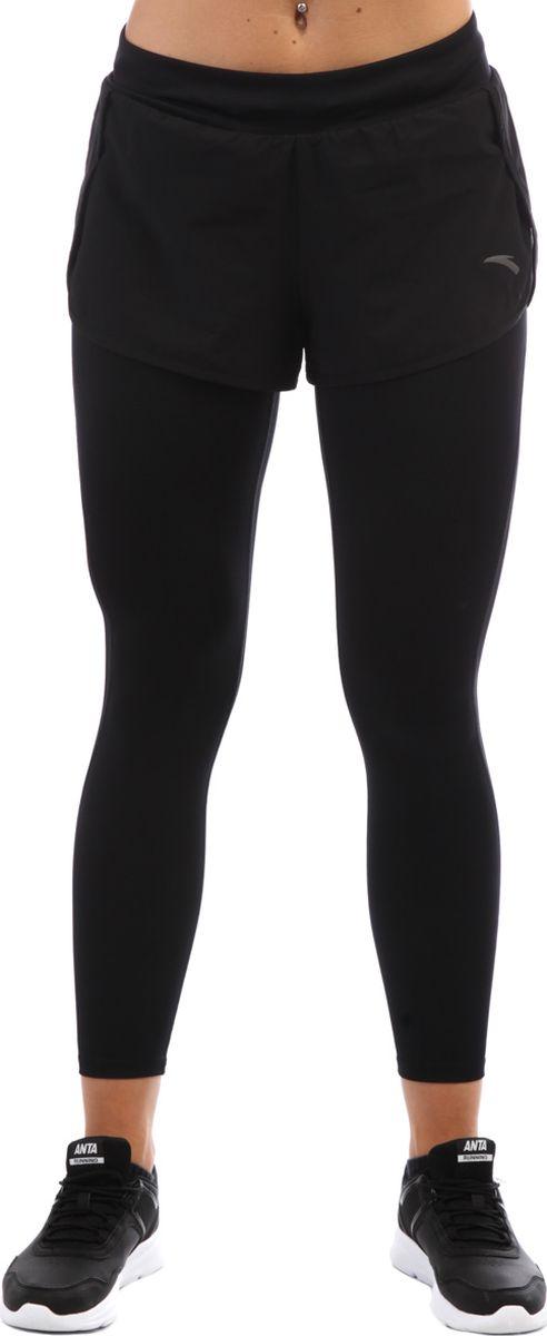 Тайтсы женские Anta, цвет: черный. 86835745-1. Размер XS (42)