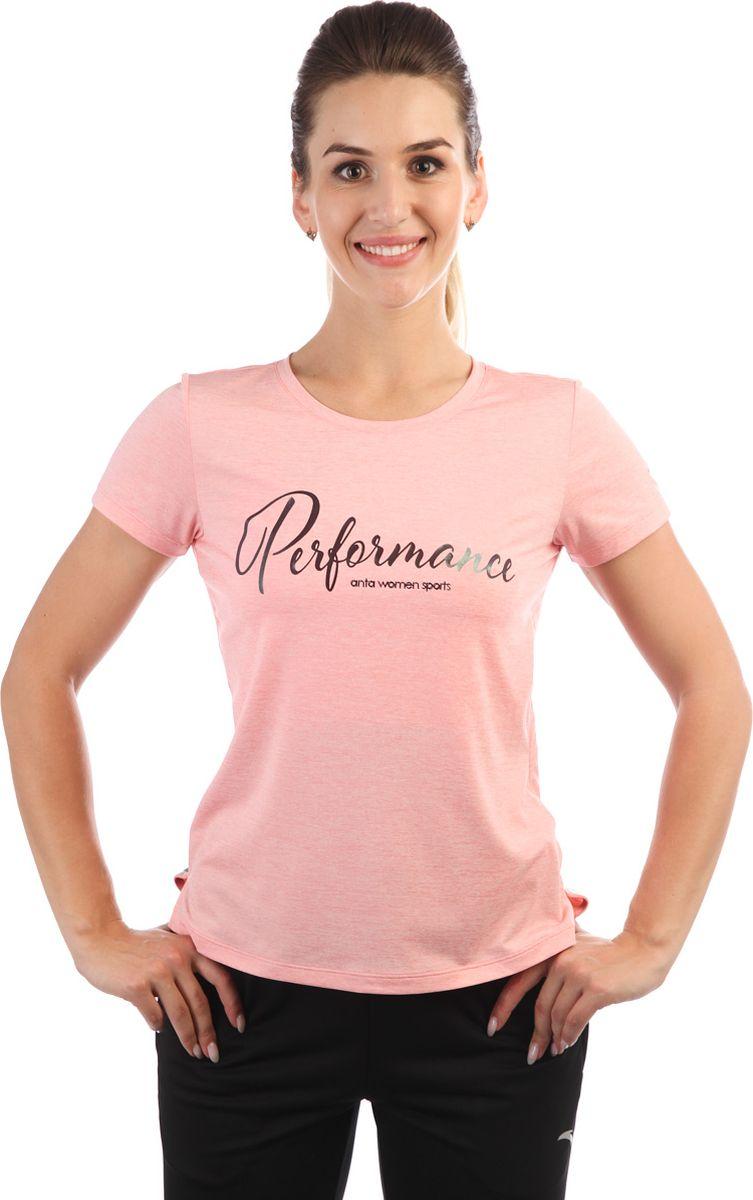 Футболка женская Anta, цвет: серый меланж. 86835140-. Размер M (46)
