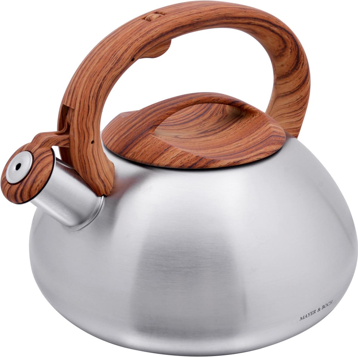 Чайник Mayer & Boch изготовлен из высококачественной нержавеющей стали (CrNi 18/10). Изделия из нержавеющей стали не окисляются и не впитывают запахи, благодаря чему вы всегда получите натуральный, насыщенный вкус и аромат напитков. Капсулированное дно с прослойкой из алюминия обеспечивает наилучшее распределение тепла. Фиксированная эргономичная ручка выполнена из бакелита, также на ручке расположена клавиша механизма открывания носика. Носик чайника оснащен насадкой-свистком, который позволяет контролировать процесс кипячения или подогрева воды. Поверхность чайника гладкая, что облегчает уход за ним. Эстетичный и функциональный, с современным дизайном, чайник будет замечательно смотреться на любой кухне. Подходит для использования на всех типах плит, включая индукционные. Подходит для мытья в посудомоечной машине.