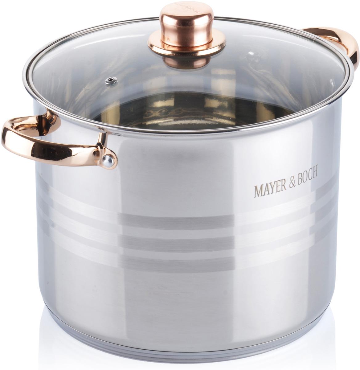 Кастрюля Mayer & Boch выполнена из высококачественной нержавеющей пищевой стали с зеркальной внешней поверхностью. Внутренняя поверхность идеально ровная, что значительно облегчает мытье. Крышка, выполнена из термостойкого стекла, имеет отверстие паровыпуска и металлический обод. Крышка плотно прилегает к краям посуды, предотвращая проливание жидкости и сохраняя аромат блюд. Также изделия снабжены эргономичными стальными ручками. В комплекте 2 предмета: кастрюля и крышка. Подходит для использования на всех типах плит, включая индукционные. Подходит для мытья в посудомоечной машине.
