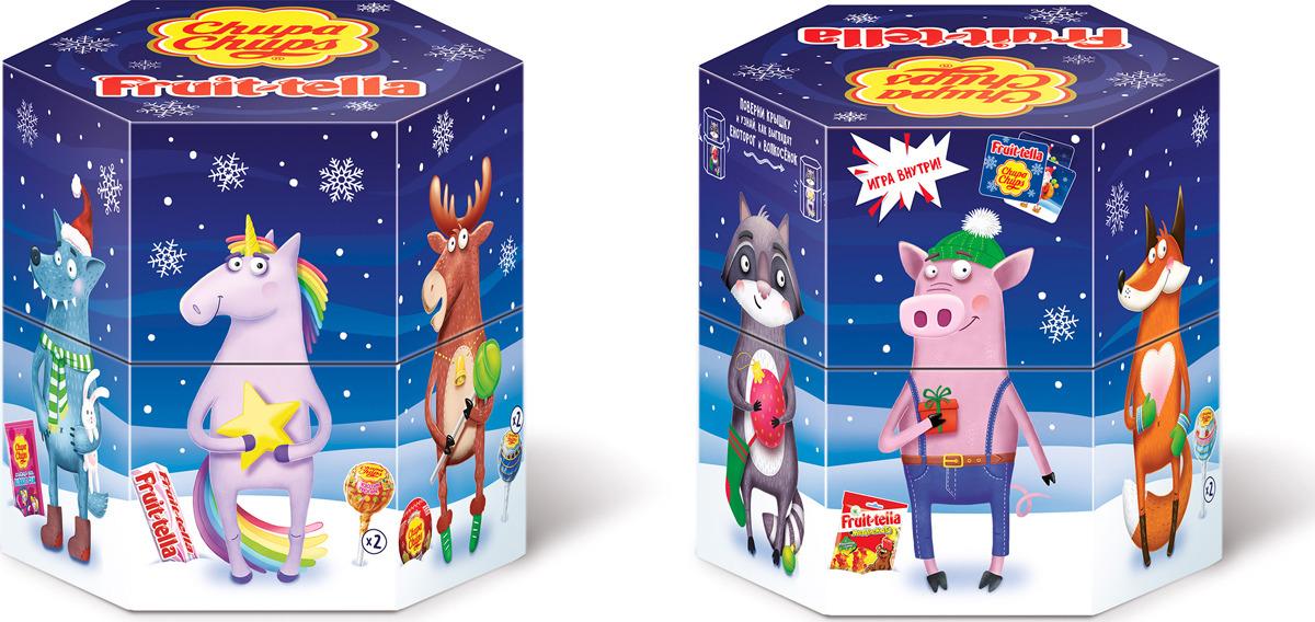 Новогодний набор кондитерских изделий Chupa Chups и Fruittella