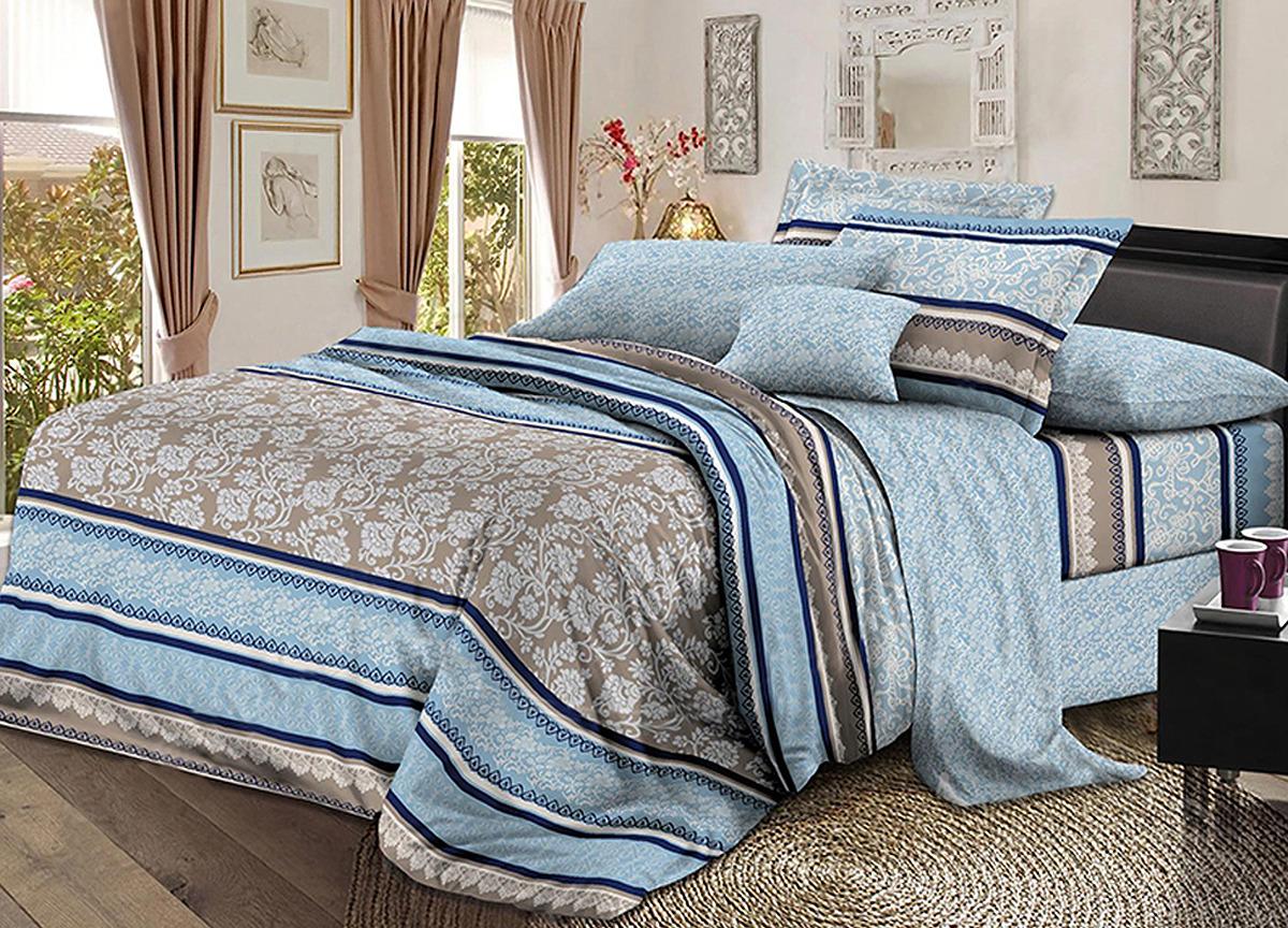 Комплект белья Primavera Волна, 1,5-спальный, наволочки 70x70, цвет: Синий. 3523S наматрасник стеганый miotex холфитекс цвет белый 200 х 200 см